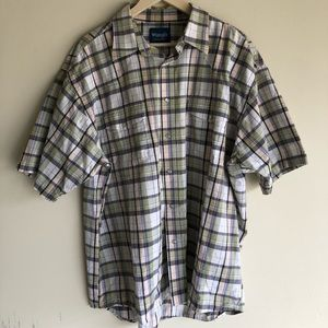 Wrangler Pearl Snap Plaid Short Sleeve Button Up